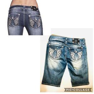 Miss Me Jeans Angel Wings Skinny Bermuda Shorts